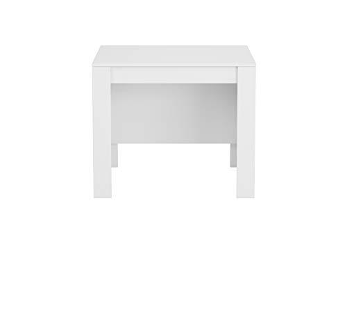 Habitdesign Mesa de Comedor, Consola, Mesa Extensible, Mesa para Salon recibidor o Cocina, Acabado en Blanco Brillo, Medidas: 50-235 cm (Largo) x 90 cm (Ancho) x 78 cm (Alto)