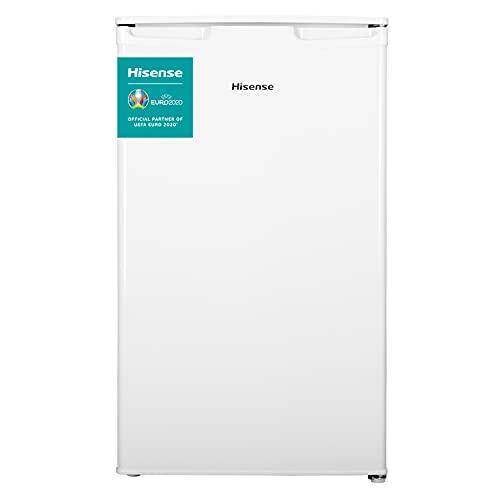 Hisense RR125D4AW1 - Frigorífico Pequeño Table Top, una puerta reversible, Capacidad neta 96 L, 84.7 cm de alto bajo encimera, silencioso 43 dBA, color blanco