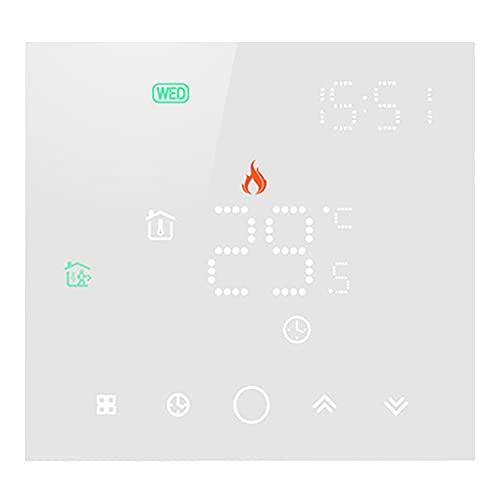 Termostato WiFi para caldera de gas, termostato digital, pantalla LCD táctil, botón retroiluminado, programable con Alexa, etc. y teléfono APP-AC220 V 3 A (caja 86 x 86 mm) (blanco)