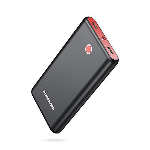 POWERADD [Versión Mejorada] Pilot X7 20000mAh Power Bank Cargador Móvil Portátil Batería Externa Carga Rapida con 2 Salidas USB 3.1A para Dispositivos Inteligentes y Más, Color-Negro y Rojo
