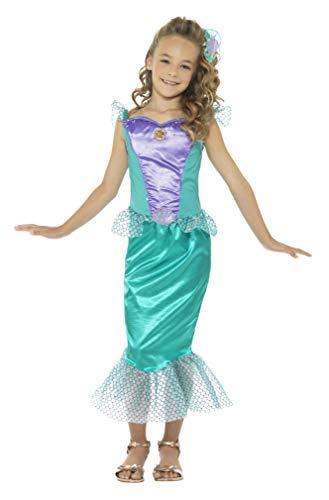 Smiffys-48003M Disfraz Deluxe de Sirena, con Vestido y Pinza para el Pelo, Color Verde, M-Edad 7-9 años (Smiffy'S 48003M)