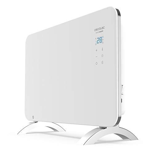 Cecotec Radiador Eléctrico Bajo Consumo Ready Warm 6650 Crystal Connection Con Wifi, 1000 W, Termostato Regulable, Temporizador, Soporte de pie, Protección sobrecalentamiento, Silencioso, Blanco