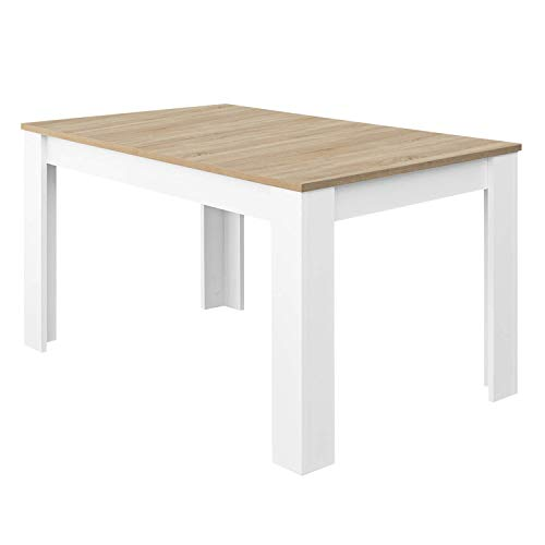 Habitdesign Mesa de Comedor Extensible, Mesa salón o Cocina, Acabado en Color Blanco Artik y Roble Canadian, Modelo Kendra, Medidas: 123-173 cm (Largo) x 75 cm (Ancho) x 78 cm (Alto)