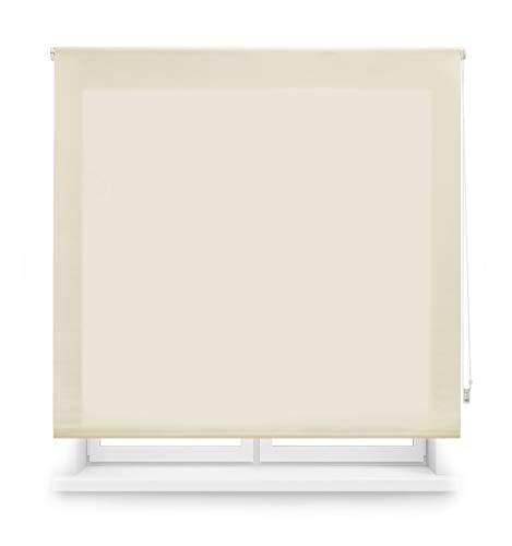 Blindecor Ara - Estor enrollable translúcido liso, Beige, 100 x 175 cm (ancho x alto)
