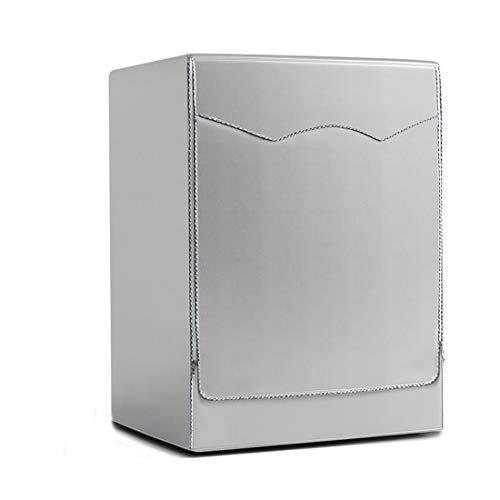 Funda de Lavadora Cubierta Impermeable para Lavadora/Secadora de Carga Frontal para Lavadora o Secadora 85 * 60 * 64cm, Silver Edge Zip, Large