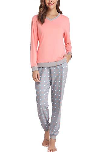 Hawiton Pijama Mujer Invierno Algodon Mangas Largas Pantalones Largo 2 Piezas Talla L