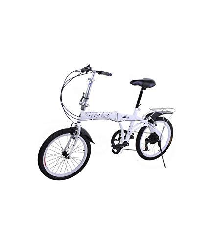 Riscko Bicicleta Plegable Metric Blanca con 7 Velocidades Manillar y Sillín Ajustables