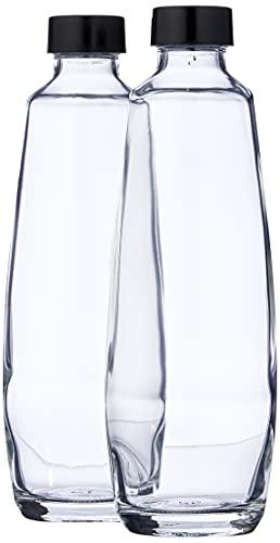 sodastream DuoPack-Botellas de Repuesto Planas de Cristal de 1 l para el aireador Duo, 2 x 1 L de Capacidad, Negro, 10x19.5x29