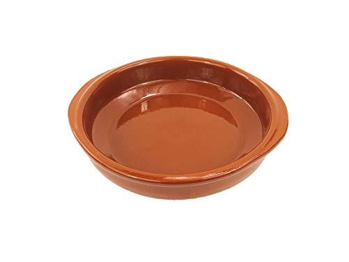 Cazuela de barro de 20 cm de diámetro. Apta para el Horno, Gas y vitrocerámica y para lavavajillas. Hecho en España a mano.