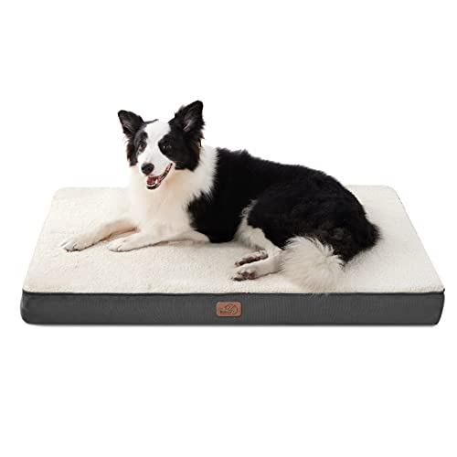 Bedsure Cama Perro Ortopédica Grande - Colchón Perro Lavable Verano L, Desenfundable con Espuma De Caja De Huevos, 91x68x7.6 cm