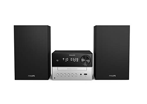 PHILIPS AUDIO M3205/12 Minicadena de Música con CD y USB y Bluetooth (Radio FM, MP3-CD, Puerto USB para Carga, 18 W, Altavoces Bass Reflex, Control Digital del Sonido) - Modelo 2020/2021