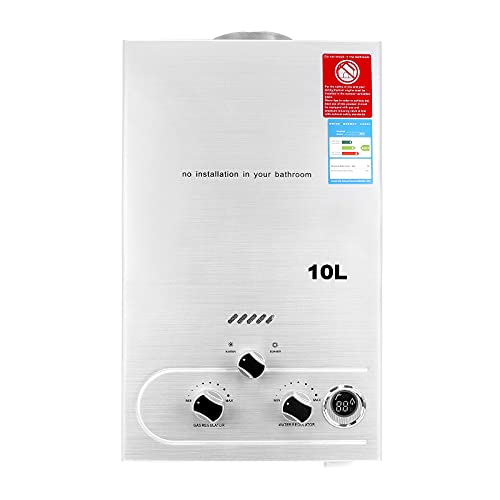 Calentador de Agua de Gas 10L,Calentador de Agua 20KW,Calentador de Gas GLP Propano Butano Sin Tanque Para El Hogar y Al Aire Libre,Blanco
