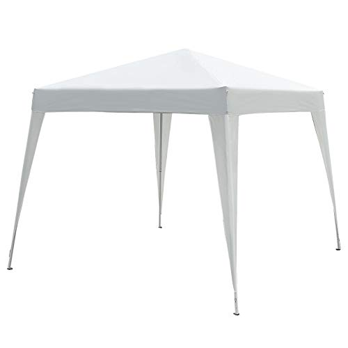 Outsunny Carpa Plegable 3x3m Cenador de Jardín Diseño Pop Up de Acero y Cubierta de Tela Oxford Blanco