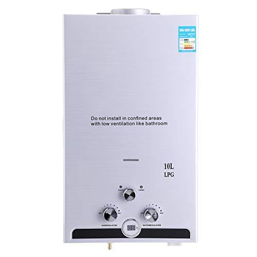 Z ZELUS 10L Calentador de Agua LPG Calentador de Agua Instantáneo 20KW Calentador de Agua de Gas Licuado de Petróleo sin Tanque (10L)
