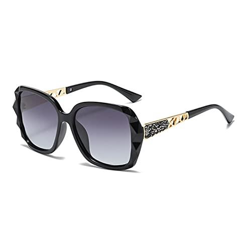 Lidiper Gafas de Sol para Mujer, Polarizadas UV400 Protección Gran Tamaño Gafas de Sol para Señoras con Incrustación de Diamante - Negro