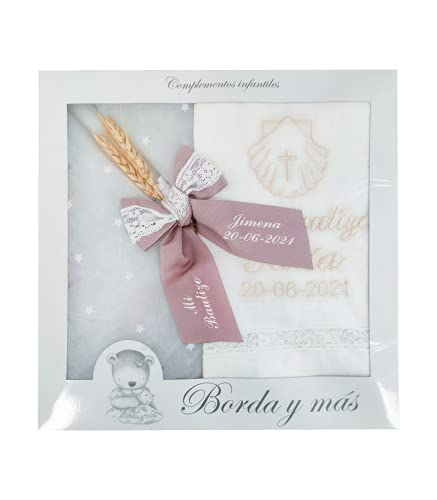 Pack Bautizo PERSONALIZADO incluye paño Bautismal y Vela de cera blanca. Modelo París (Rosa Maquillaje)