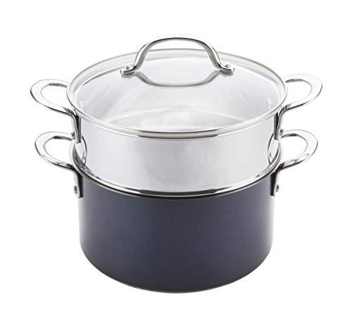 Prestige Optisteel Set para cocinar al Vapor, Juego de ollas vaporeras de Alto Rendimiento para Verduras y Otros Alimentos, Olla al Vapor de Acero Inoxidable con Tapa, 24 cm, Azul