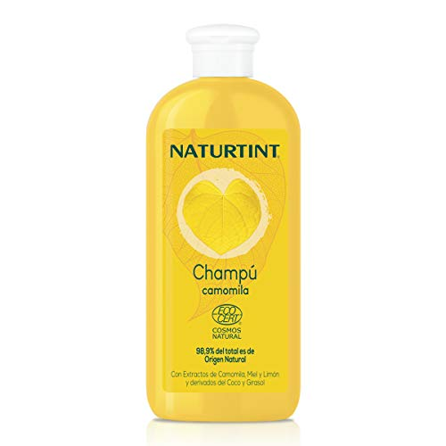 Naturtint Champú Camomila Natural. Intensos Reflejos Dorados. Ecocert. 98,9% Ingredientes Naturales   Camomila Miel y Limón   330ml