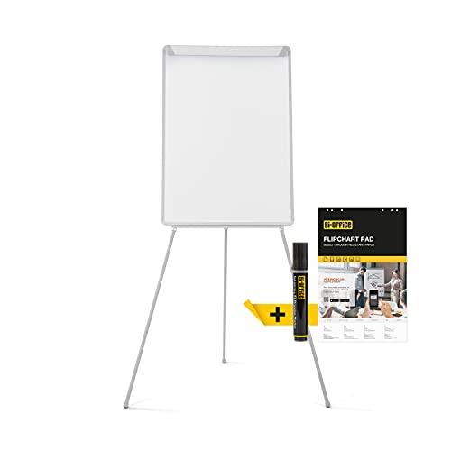 Bi-Office Pizarra Blanca con Caballete de Trípode Basic, 70 x 100 cm, Rotafolios con Marco Gris, con Bandeja y Clip Ajustable para Bloques