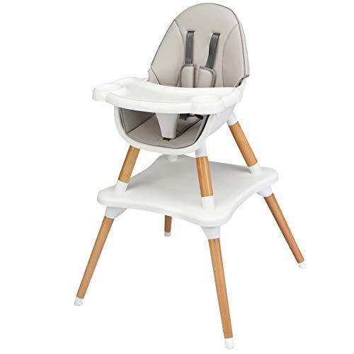 COSTWAY Trona para Bebé Altura Ajustable Silla Alta con Cinturón de Seguridad y Bandeja Extraíble para Comedor Jugar (Gris)