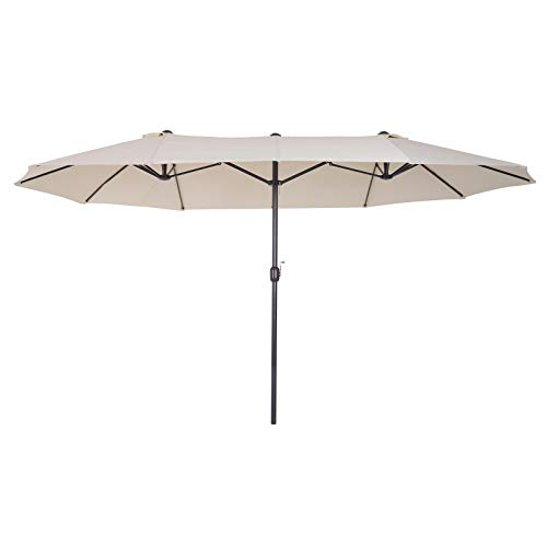 Outsunny Sombrilla Parasol Doble para Jardín Carpas Toldos de Terraza Tela de Poliéster Sombrilla Gigantede para Playa Protección Solar UV 4.6x2.7x2.4m Beige