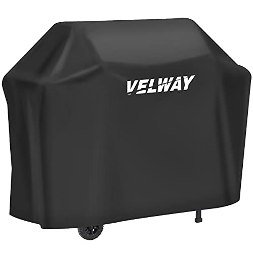Velway Funda para Barbacoa Impermeable, Cubierta BBQ de Parrilla 210D Oxford Protector, Anti-Viento/Anti-Polvo/Anti-Humedad, Resistente al Desgarro/Agua/Lluvia/Nieve/Sol, 147x61x117cm Negro