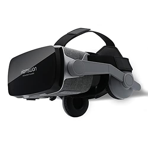 VOGMOGO Gafas 3D VR Gafas de Realidad Virtual, Gafas VR Glasses Visión Panorámico 360 Grado Película 3D Juego Immersivo para Móviles 4.7-6.6 Pulgada Android y Apple (Gafas VR con Auriculares)