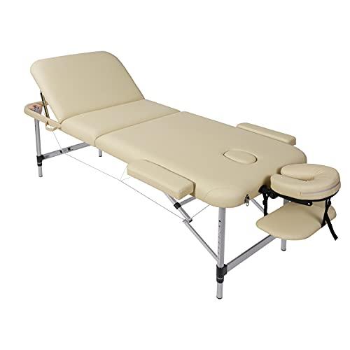 Camilla de masaje, plegable, altura regulable, 3 zonas, patas de aluminio con piel sintética prémium y espuma multicapa beige de alta densidad 14,5 kg (capacidad de carga 270 kg)
