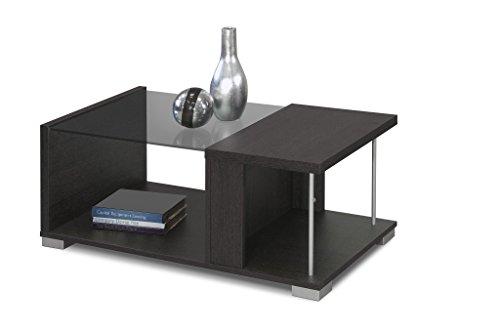 INTRADISA 2036 - Mesa de Centro de diseño con Varillas y Cristal, Color wengué, 38 x 92 x 50 cm
