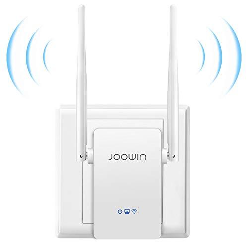 JOOWIN Repetidor WiFi, 300Mbps 2.4 GHz Amplificador Señal WiFi Extensor Inalámbrico WiFi repetidores con Botón WPS, Fácil de configurar, Repetidor/Enrutador/Ap Modos, Dos Antenas, Puerto Ethernet
