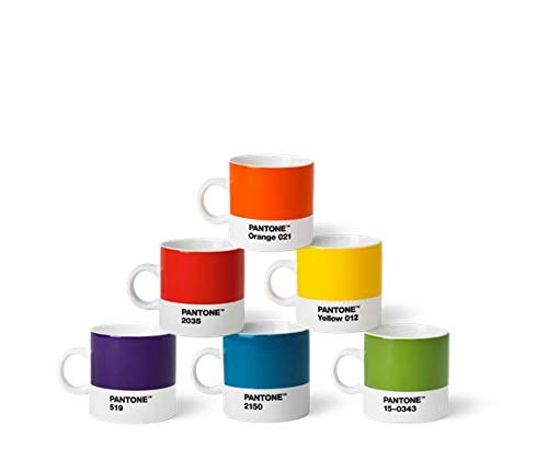 Pantone Juego de 6 tazas de espresso de porcelana de 120 ml, con asa, aptas para lavavajillas, colores clásicos, 6 unidades