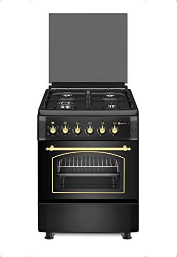 Cocina SolThermic HORNO ELÉCTRICO con GRILL y TURBO F6S40E5RB de Color Negro Rústico compuesta por 4 Quemadores y Horno ELECTRICO. Incorporado - ENTREGA A PIÉ DE CALLE. **ALTA GAMA**