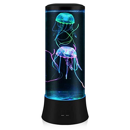 POYO Lámpara de lava LED Fantasy Qualle – Lámpara redonda auténtica medusa – 7 colores de ajuste de medusas para acuario, luz ambiental, decoración para el hogar u oficina, gran regalo para niños