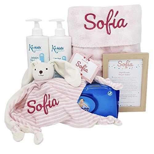 Soft And Happy   Mababy Canastilla bebe   Cesta Recien Nacido   Regalo Bebe Personalizado (Rosa)