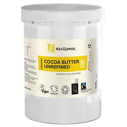 Naissance Manteca de Cacao BIO n. º 303 – 1kg - Pura, natural, certificada ecológicamente, vegana, no OGM - Ideal para recetas cosméticas DIY.