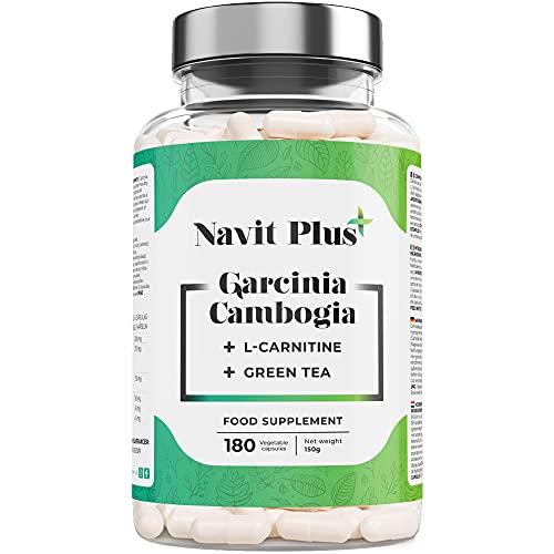 Garcinia Cambogia extra fuerte pura + l Carnitina Cápsulas + Té Verde | CN Farmacia 194557.0 | Quemagrasas abdominal 100% natural | Suplemento reductor del apetito | 180 cápsulas vegetales.
