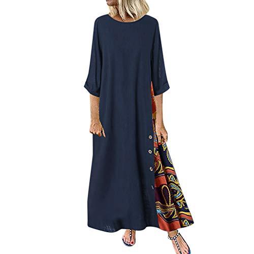 Fossen MuRope El algodón y el lino vestidos de verano largos ocasionales 2019 de manga larga de impresión para Mujeres Navy - D 3XL