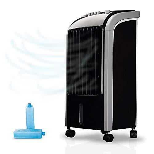 NEWTECK - Climatizador Evaporativo Portátil Wind Pure: Refresca, Ventila y Humidifica. Ventilador de Pie (4L) con 3 Velocidades, Oscilación 120º y Filtro Anti-Bacterias. Incluye 2 Packs de Hielo