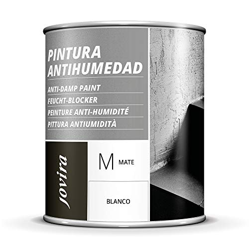 PINTURA ANTIHUMEDAD MATE impermeabilizante. Total protección en superficies de fachadas, muros, paredes interior. Elimina la humedad, mejora la adherencia y cubre las manchas. (750 ml)