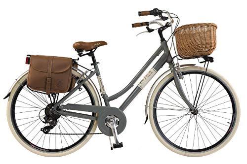 Via Veneto by Canellini Bicicleta Bici Citybike CTB Mujer Vintage Retro Via Veneto Aluminio (Gris, 50)