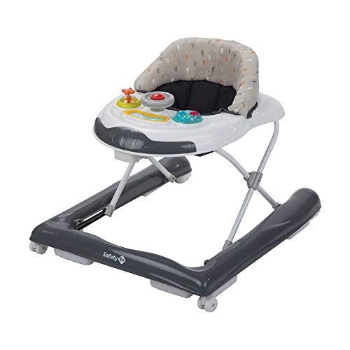 Safety 1st Bolid Andador bebé primeros pasos, 3 alturas regulables, Centro de actividades con 12 melodías, asiento acolchado, Base Antivuelco, Color Gris