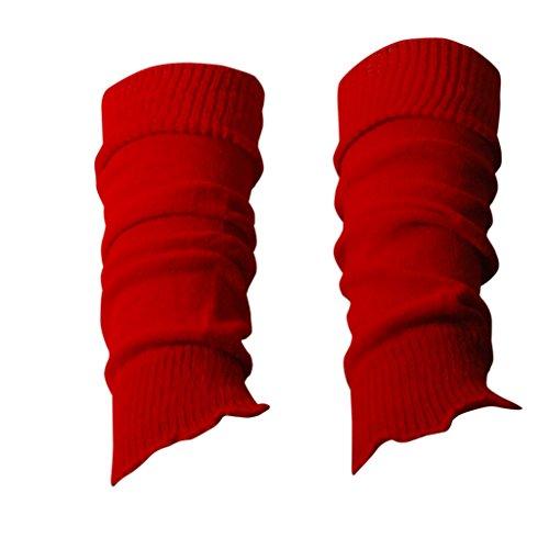 1 par de calentadores de baile/deporte para niños, en colores fluorescentes y con brillo rojo Talla única