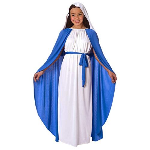 Disfraz de Natividad de la Virgen María para niñas. Conjunto de Navidad religioso para niños, Talla S (3-5 años)