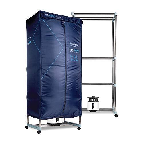 NEWTECK Secadora de Ropa Eléctrica Portátil Secadry con Luz UV para Desinfectar. Secadora por Ventilación (1200W) Capacidad 15Kg, Temp. 180min, 3 Niveles, Multifunción: Secadora, Armario, Tendedero