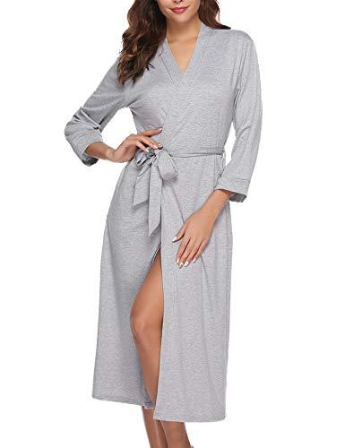 Abollria Bata para Mujer Algodón con Escote en V Albornoz de Kimono de Mujer Ropa de Dormir con Cinturón Gris,M