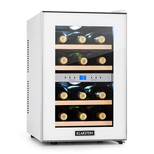 Klarstein Reserva - Nevera de vinos, Refrigerador bebidas, 34 L, 12 Botellas, 4 Estantes, Control Touchpad, 2 Zonas, Temperatura 7-18 °C, Doble Cristal, Blanco