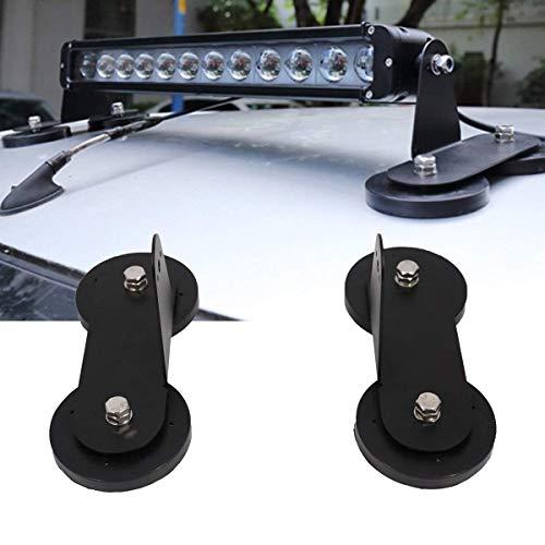 Soportes de montaje magnéticos, luces modificadas para el techo del coche Soporte magnético con potente base magnética para barra de luz de trabajo Led Tractores de techo Off Road (negro)