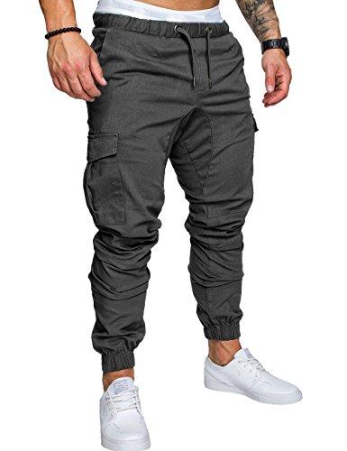 SOMTHRON Hombre Cinturón de Cintura elástico Pantalones de chándal de algodón Largo Jogging Pantalones de Carga Deportiva de Talla Grande Pantalones Cortos con Bolsillos Pantalones (DG-M)
