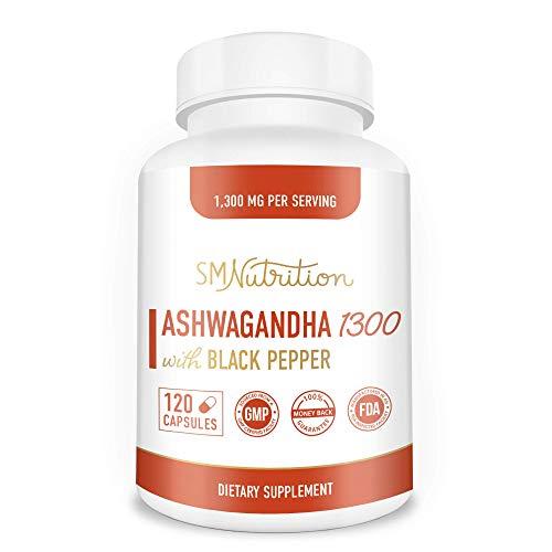 Cápsulas orgánica Ashwagandha - 1300 mg (120 Count) Hecho con Orgánico Ashwagandha polvo de raíz y pimienta Negro Extracto - 100% Ashwagandha para el alivio de tensión