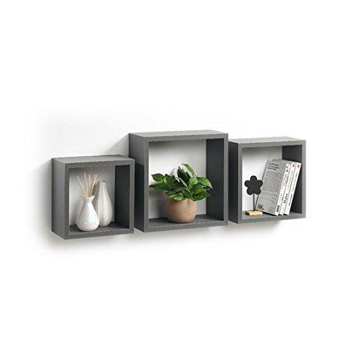 Modul'Home 6RAN789BC - Estantería con Forma de Cubo (Tablero DM, 11,8 x 30 x 30 cm), Tablero/Madera DM, Gris Oscuro, 3 Tallas 23 cm/26,5 cm/30 cm